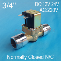 Brass solenoid valve coil 3/4 DC 12V 24V or AC220V Electric Solenoid Valve Normally Closed N/C Water 0.02 0.8Mpa