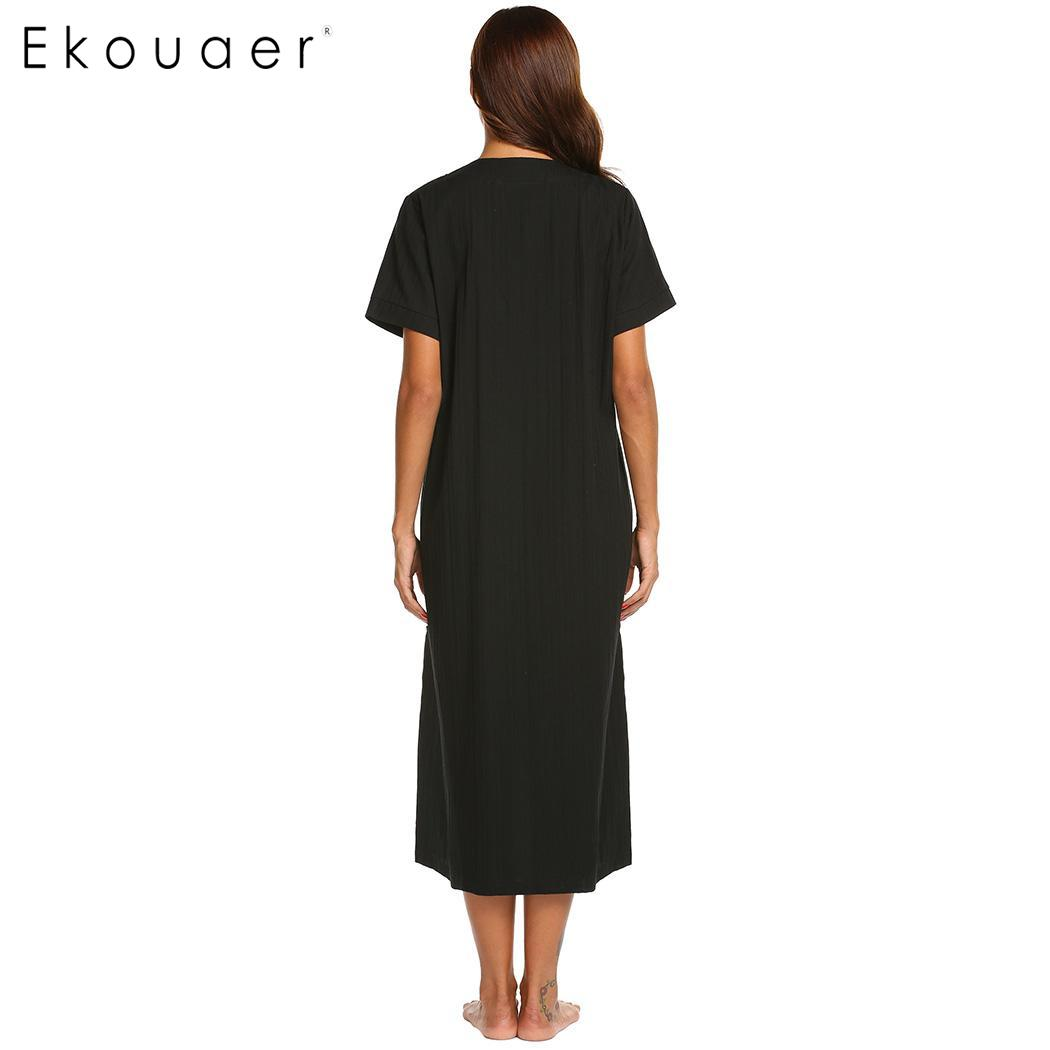 26a831489d Ekouaer Women Long Nightgown Cotton Night Dress Round Neck Straight Zipper  Female Sleepwear Night Gown Homewear Wear Plus Size-in Nightgowns    Sleepshirts ...