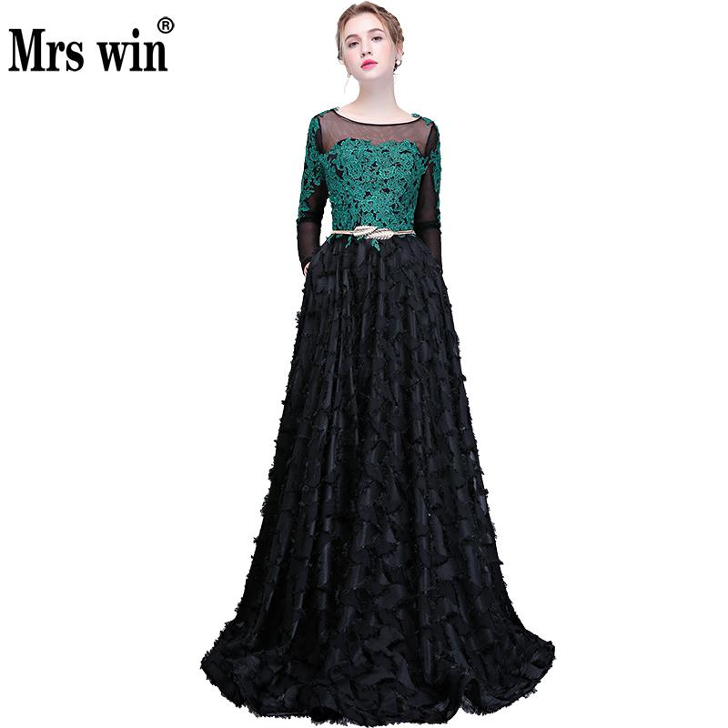 Evening Dresses 2018 New The Banquet A line Full Sleeve Vintage Party Prom Formal Vestido De Festa Longo Azul Royal F