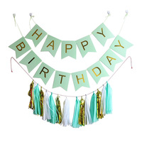 Mixed 3 Colors Tissue Paper Tassel Garland Pink White Black Mint Gold Happy Birthday Letter Paper