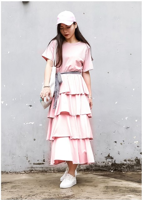 8bcf089d298 new design girls casual loose pink ruffle dresses women s summer fashion  holiday elegant slim cool dress black white dress  L254