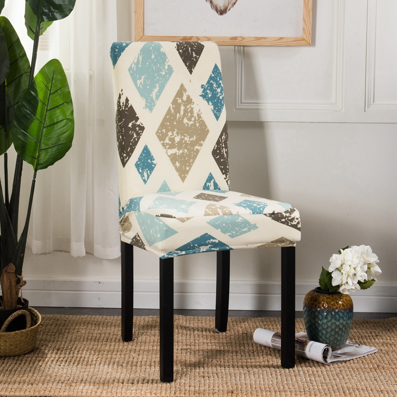 Minimalist Plaid Floral Printing Spandex Elastic Dining Chair Protector Cover Home Kitch ...