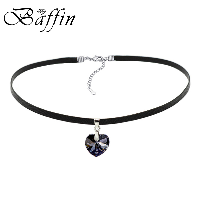 BAFFIN Heart Pendant Choker Necklace Crystals From Swarovski Rope Leather Chain Collar For Women Party Retro Vintage Jewelry