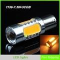 2 Pçs/lote 1156 BA15S 7.5 W LED Transformar a Luz do Sinal, Base de Luzes LED Reverter P21W BAU15S Branco Quente 150 Graus Frete Grátis