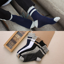 купить 1 Pairs/Lot Socks Men's Tube Simple Stripes Cotton Socks Long Tube Men's Autumn And Winter New Color Matching Casual Men's Socks по цене 181.43 рублей