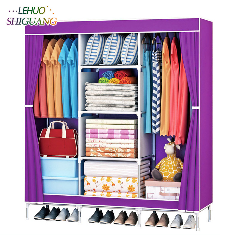 Fashion Non-woven fabric wardrobes Steel frame reinforcement Standing Storage Organizer closet cabinet home bedroom furniture fashion home furniture bedroom non woven fabric family wardrobe standing storage organizer closet cabinet high foot shelf