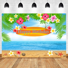 Neoback Summer Beach Birthday Party Photography Background Floral Green Plant starfish Booth Backdrop Photo Studio
