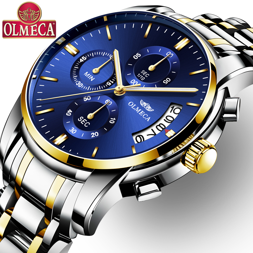 OLMECA 2019 Luxury Business Men Quartz Watches Luminous Waterproof Military Sport Watch Male Wristwatches Relogio Masculino