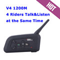 2x1200M V4 Motorcycle Bluetooth Headset Helmet Intercom 4 Riders Talk at The Same Time Full Duplex BT Interphone FM