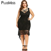 PlusMiss Plus Size 5XL 4XL Cut Out Lace Crochet Bodycon Dress Sleeveless  Lace Up Elegant Evening Party Dresses Robe Femme 2018 6cc3e088eb01