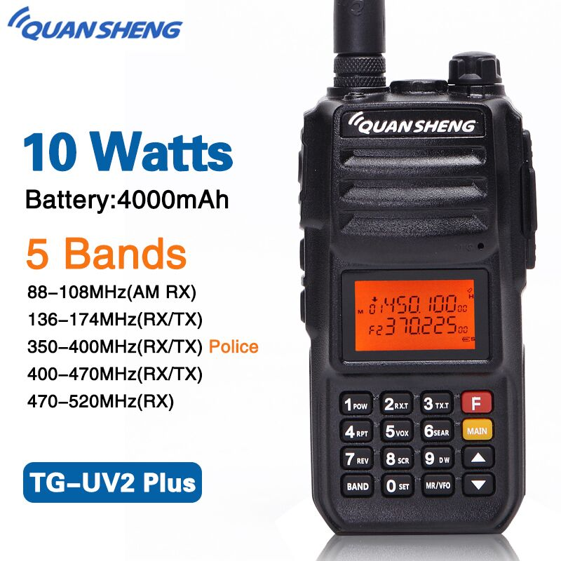 Quansheng TG UV2 PLUS 10W Powerfull 5 Bands 136 174MHz/Police 350 390MHz/400 470MHz 4000mAh Ham Radio Walkie Talkie TG UV2Plus-in Walkie Talkie from Cellphones & Telecommunications    2