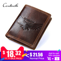 CONTACT'S Genuine Leather Men Wallet with coin holder Vintage men's purse with credit card holder male bag man small Wallets