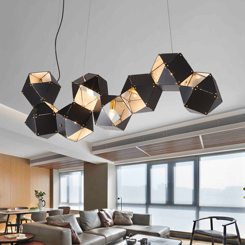 Post Modern DNA Pendant Lights 8 Metal box Creative For Restaurant Studio Home Hanglamp Pendant Lamp with LED bulb New arrival in Pendant Lights from Lights Lighting