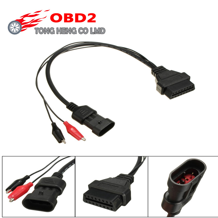 Fiat 3pin Alfa Lancia to 16 Pin Diagnostic Cable  to OBD2 Adaptor Cable