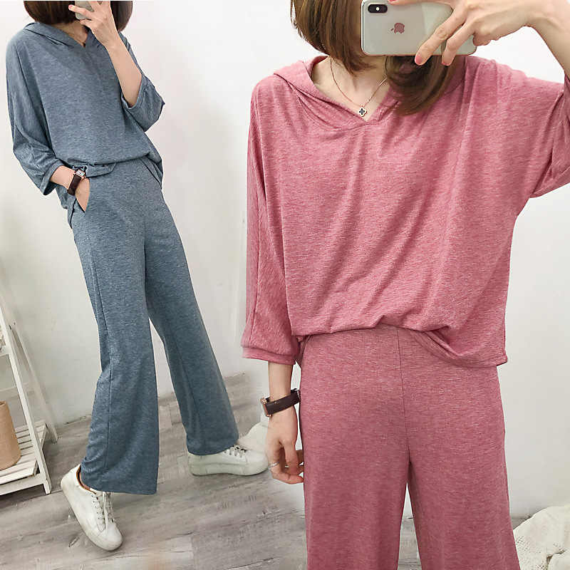 two piece set tracksuits women pajamas loose casual streetwear hooded t shirt+wide leg pants 2 pieces set outfits jogging femme