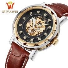 OUYAWEI Mens Watches Top Brand Luxury New Sport Design Bezel Golden Clock Men Hand Wind Skeleton mechanical Watch Montre Homme стоимость