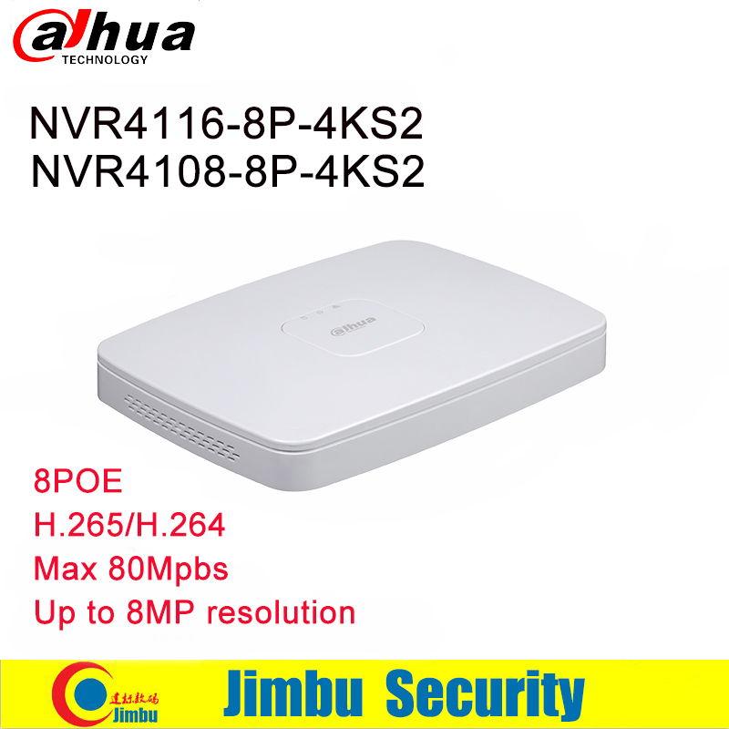 Dahua NVR Video Recorder NVR4108 8P 4KS2 8CH 16CH NVR4116 8P 4KS2 8 PoE port 4K