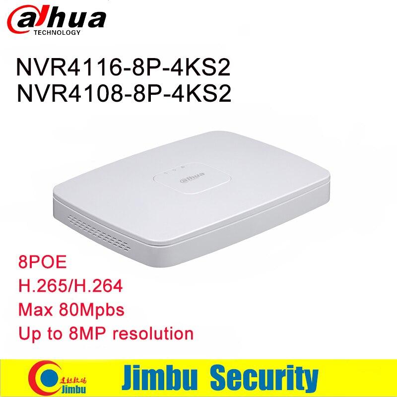 Dahua NVR Video Recorder NVR4108-8P-4KS2 8CH 16CH NVR4116-8P-4KS2 8 porte PoE 4 k e H.265 H.264 Fino a 8MP Risoluzione max 80 Mbps