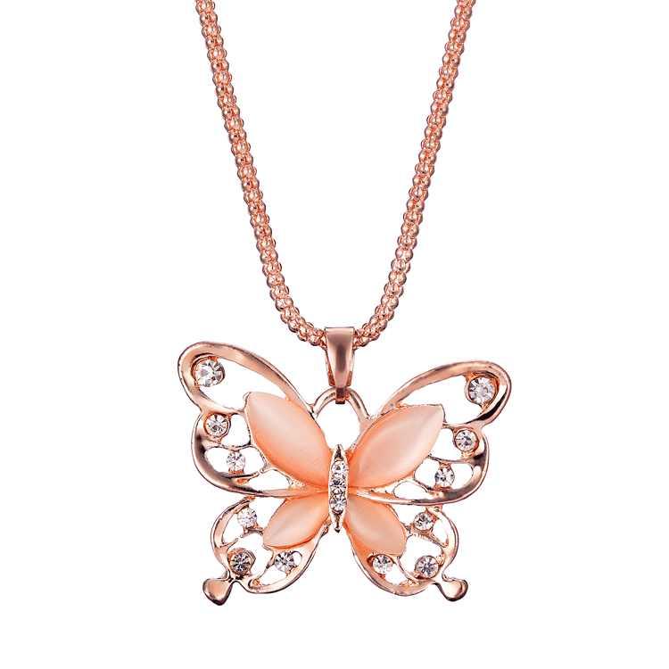 Для женщин Элегантная Леди розовое золото Опал бабочка кулон свитер цепи цепочки и ожерелья стильный дерзкое ожерелье Роскошные Длинные Jewely z0501