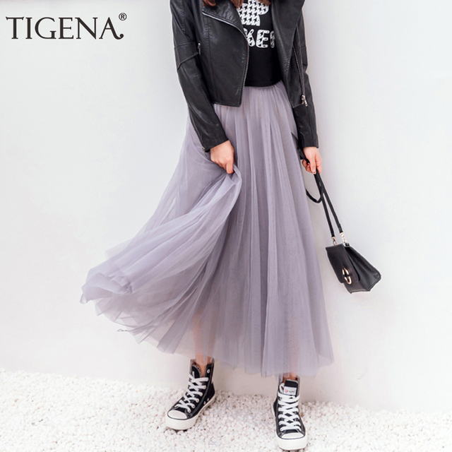 TIGENA Tulle Skirts Womens 2020 Summer Long Maxi Skirt Female Elastic High Waist Pleated Tutu Skirt Sun Black Gray White