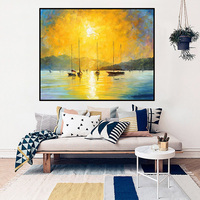JYJ sunset in sea wall art canvas art Thick Texture Modern Abstract Handpainted Oil canvas painting home decor poster Unframed