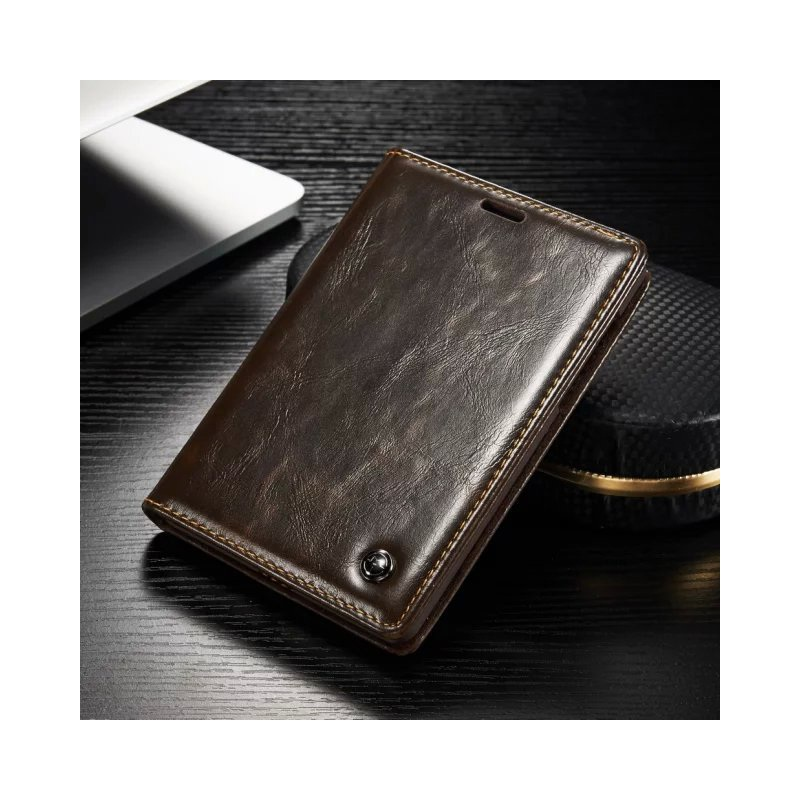 CASEME for BlackBerry Passport Silver Edition Oil Wax Leather Case Card Holder Brown