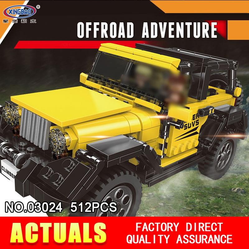 XingBao 03024 512PCS Car Series The Offroad Adventure Set Building Blocks Bricks Toys Educational Funny Kids Gifts Model
