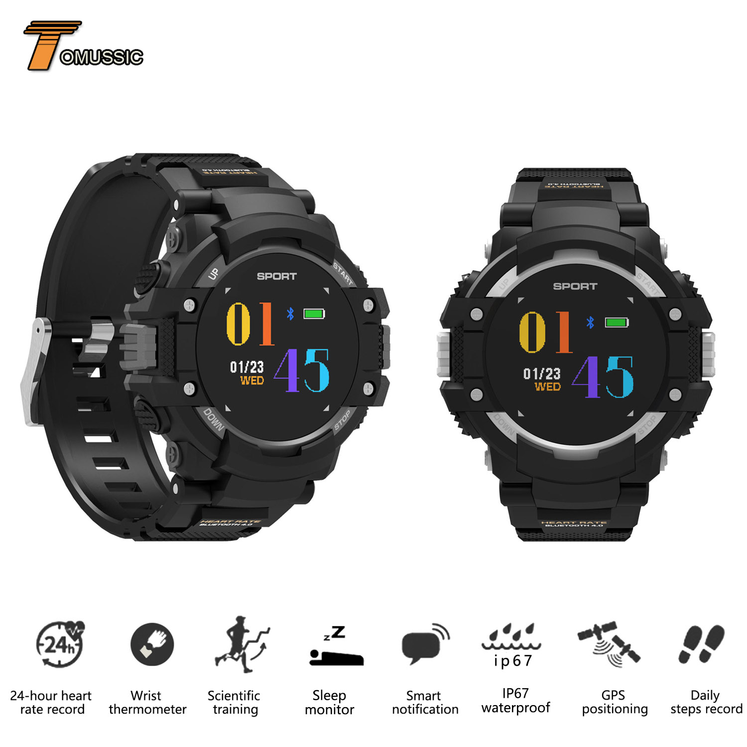 Outdoors Sports Watch GPS Compass Smart Watch Call Sleep Activity Fitness Tracker Altimeter Barometer Waterproof Smart