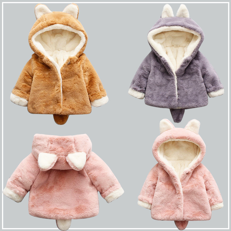 91469e772 2019 invierno más chaqueta gruesa de terciopelo abrigo de piel para niños  abrigo de dibujos ...