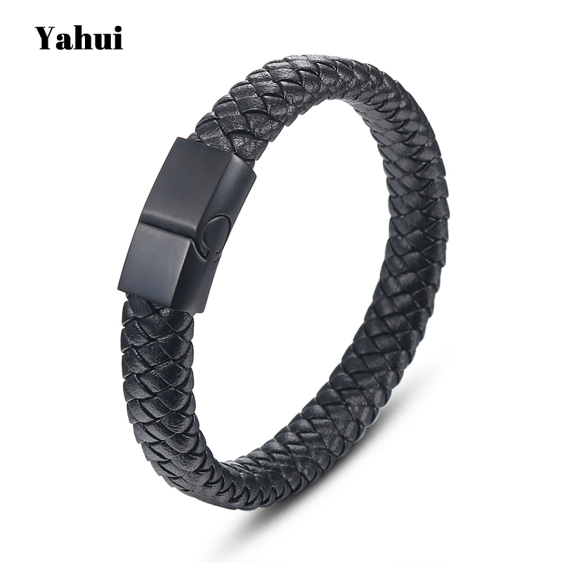 YaHui stainless steel charms personalized friendship bracelets black mens leather  fashion jewelry gifts for men
