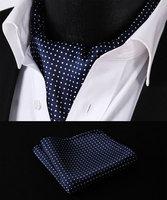 RD103B Blue White Polka Dot Silk Cravat Woven Ascot Tie Pocket Square Handkerchief Suit Set