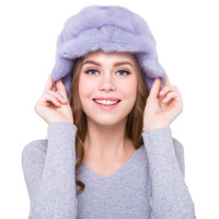 Luxury Women's Real Wholeskin Mink Fur Fedoras Hats Female Winter Warm Caps Fashion Genuine Fur Headgear LF5094