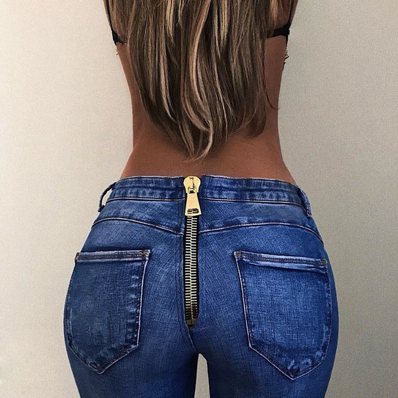 Back Zipper 2019 NEW blue Women High Waist Trousers Sexy Pencil Stretch Denim   Jeans   Pants Drop Shipping