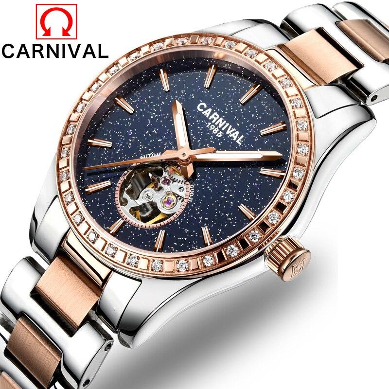 Carnival Watch Women skeleton Automatic Mechanical Luminous Rose Gold Stainless Steel Waterproof Girls Black  Watches