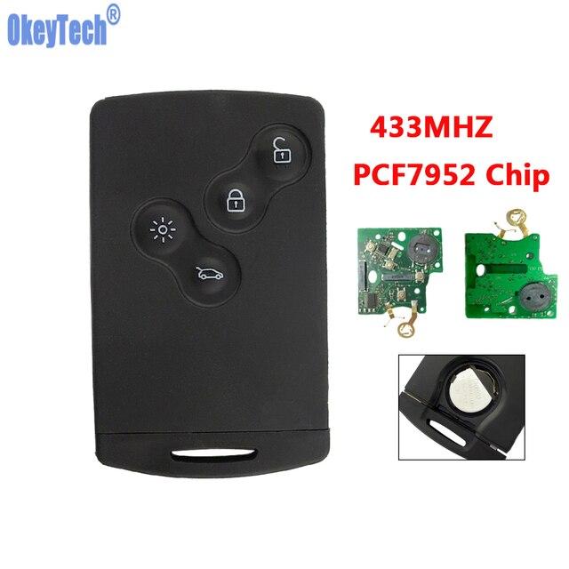 OkeyTech 433 MHZ PCF7952 Chip mando a distancia Tarjeta de coche llave Fob 4 botones para Renault Megane escénica Laguna Koleos clio hoja sin cortar