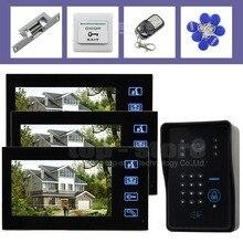 DIYSECUR Huelga Lock 7 Pulgadas Monitor Video de la Puerta Sistema de Intercomunicación Teléfono Contraseña RFID Resistente A La Intemperie Cámara 3 Monitor 1 Cámara