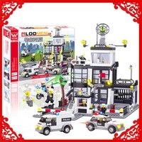 KAZI 6725 City Police Station Model Building Block 631Pcs DIY Educational Construction Assemble Toys For Children