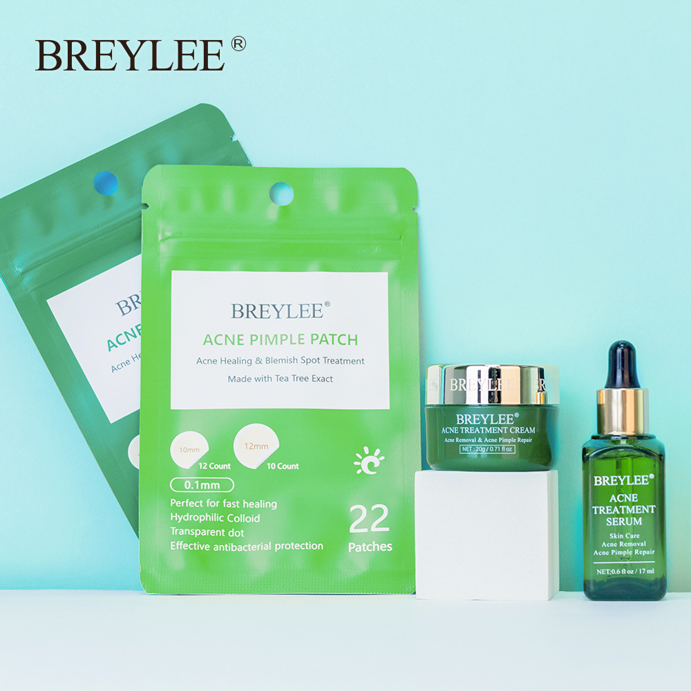 Breylee Acne Treatment Set Whitening Cream Acne Serum Acne Pimple Patch Pimple Remover Tool Face Mask Essence Skin Care