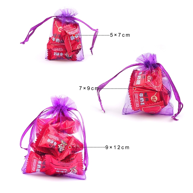 100pcs/lot Organza Bag 5*7cm,7*9cm,9x12cm Christmas Wedding Bag Candy Bags Gift Pouches Jewelry Packaging Display 23 Colors 3