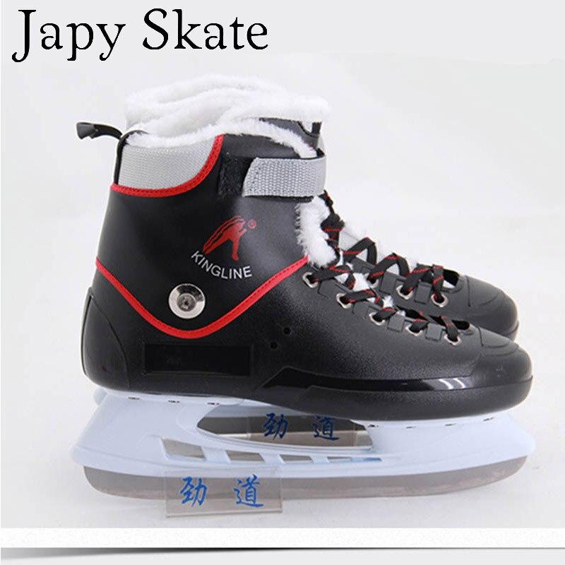 Prix pour Jus japy Skate Hockey Sur Glace Chaussures Enfant Adulte Patins À Glace Professionnel Fleur Couteau Hockey Sur Glace Couteau Chaussures Réel Patins À Glace
