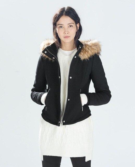 bfaff7022e4e6 Genuine ZA 2014 autumn winter Female Black Fur hooded Short Jacket coat  Women Slim Hoodie overcoat With pockets