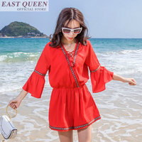 Summer beach playsuits 2018 Indie folk loose jumpsuits lace up casual solid jumpsuit rompers flare sleeve v neck DD885 L