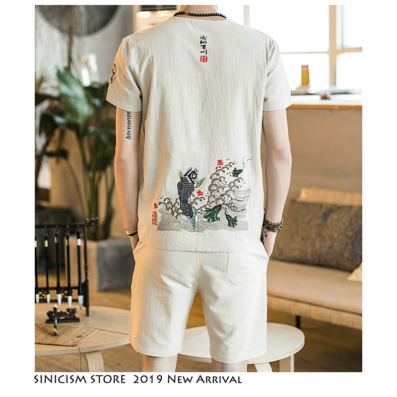 Sinicism Store Harajuku Fish Tracksuit Men 2020 Summer Mens Linen Shorts Suit Sets Male Streetwear Chinese Style 2 Piece Sets