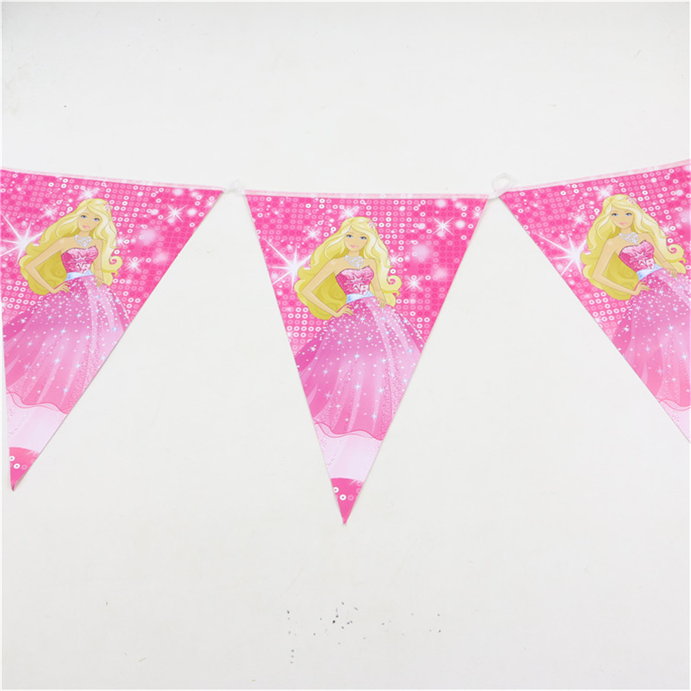 1 set princess barbie theme party banner paper flagscolours baby