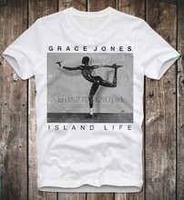 CAMISETA GRACE JONES a VIDA na ILHA 80 s POP SOUL FUNK DISCOTECA RETRO AFLIGIDO DO VINTAGE(China)