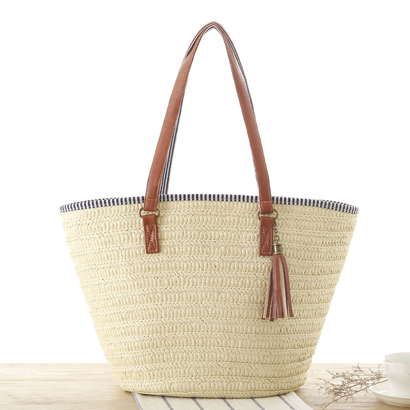 Casual Tassel Straw Bags Rattan Women Handbags Wicker Woven Shoulder Bags Large Capacity Totes Bucket Bag Summer Beach Purses