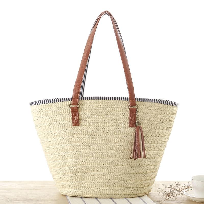casual tassel straw bags rattan women handbags wicker woven shoulder bags large capacity totes bucket bag summer beach purses