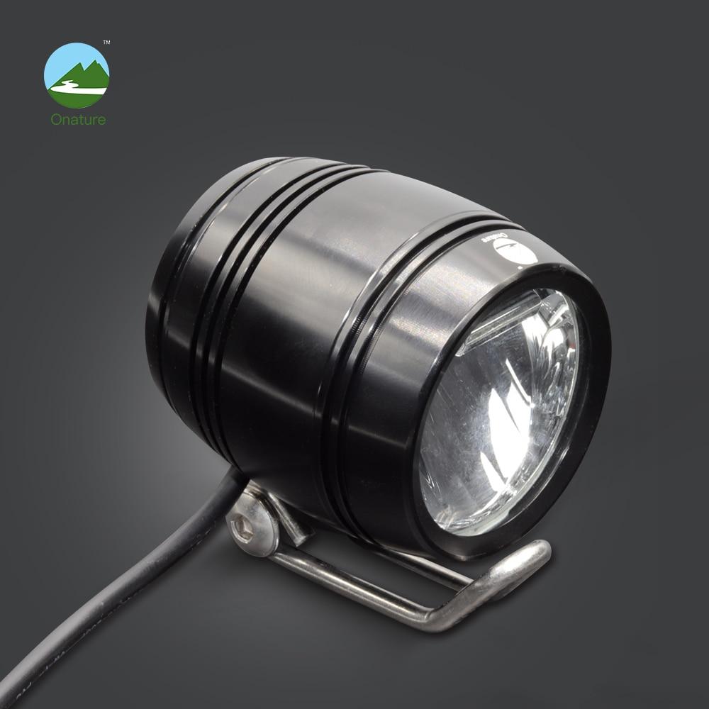 Onature bicicleta eléctrica luz faro 100 entrada lux DC6V 12 V 36 V 48 V satisfacer Stvzo estándar carcasa de aluminio led ebike Luz
