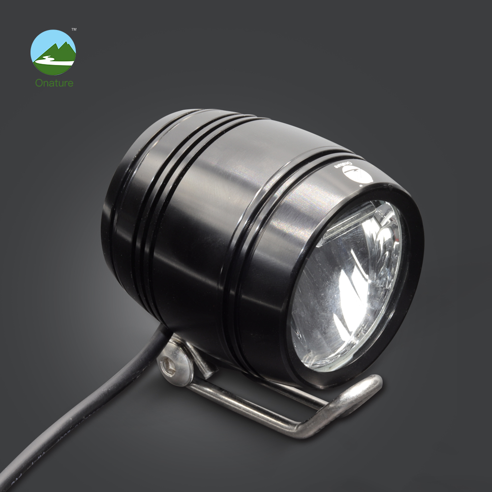 Onature Electric Bike Light Headlight 100 Lux Input DC 6V 12V 36V 48V Aluminum Led Ebike Front Light Electric Bike Accessories