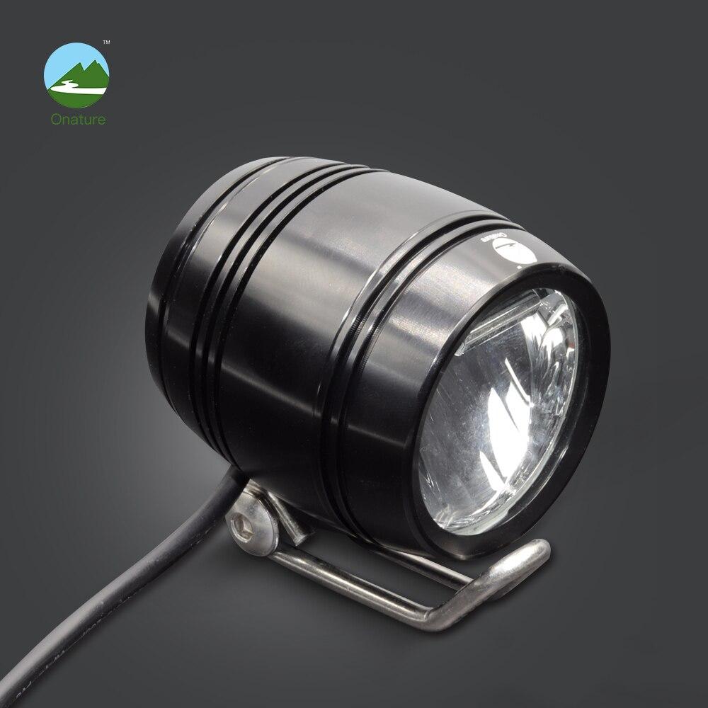 Onature elektrische fahrrad licht scheinwerfer 100 lux eingang DC6V 12 v 36 v 48 v erfüllen Stvzo standard aluminium gehäuse led ebike licht